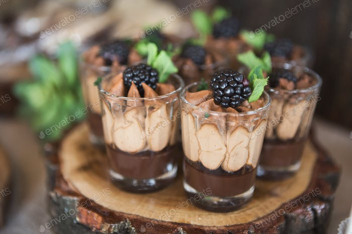 Chocolate dessert topped with cream and blackberry