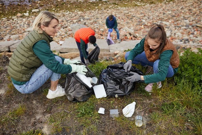 Ecological organization cleaning up the garbage