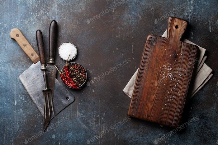 Vintage meat knife, fork and spices