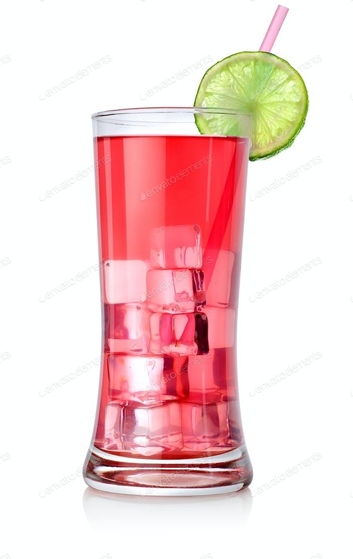 Roter Cocktail in einem großen Glas
