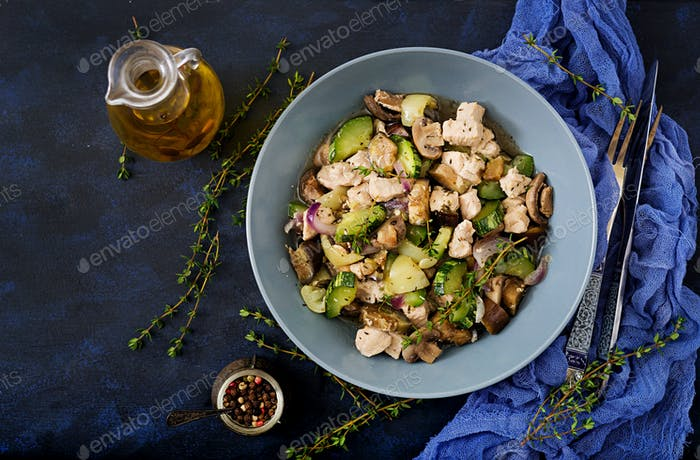 Delicate slices of chicken fillet with zucchini and mushrooms stewed