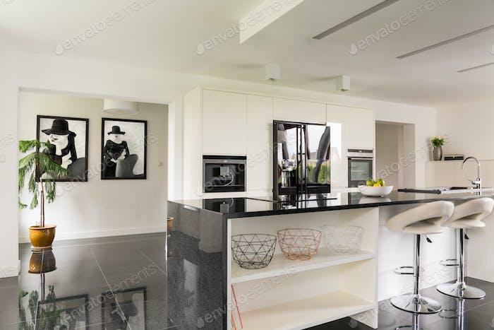 Villa interior with open kitchen