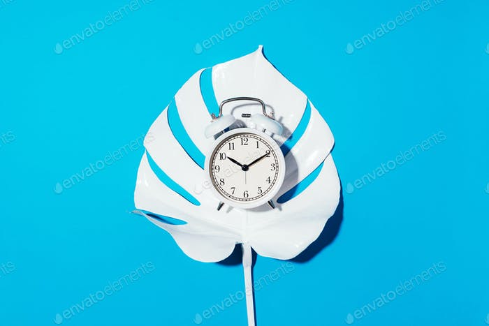 White alarm clock and monstera leaf over blue background with copy space. Top view. Flat lay. Wake