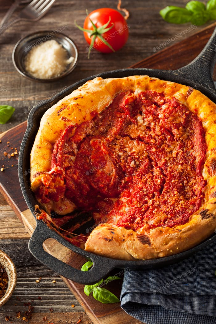 Thumbnail for Homemade Skillet Deep Dish Chicago Pizza