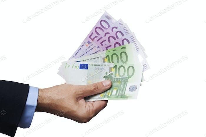 Man Hand Holding Euros