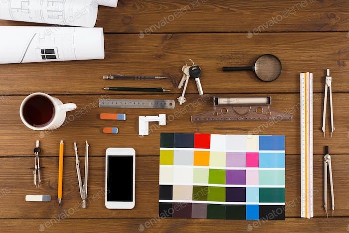 Decorator workplace with color swatches and tools