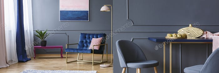 Dark open space living room interior with royal blue armchair, f