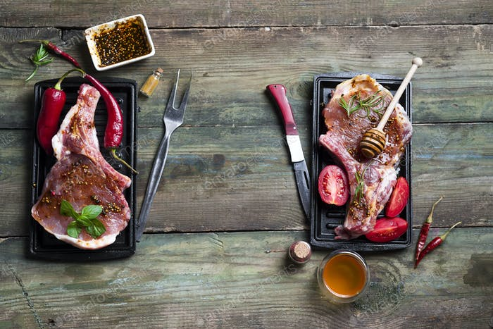 Raw meat, beef steak