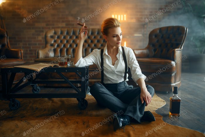 Woman relax with whiskey and cigar, retro fashion