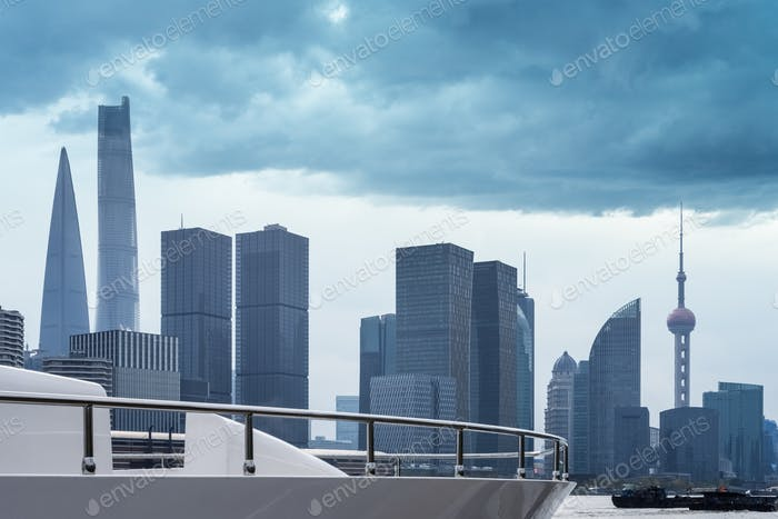 shanghai cityscape in cloudy