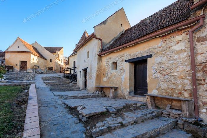 Rasnov citadel medieval paved street