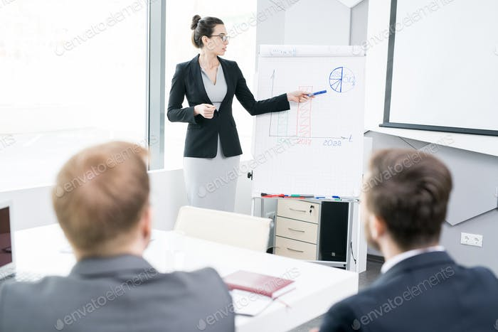 Young Businesswoman Giving Presentation at Whiteboard