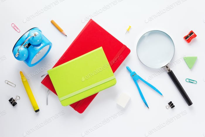 school accessories and  notebook or book