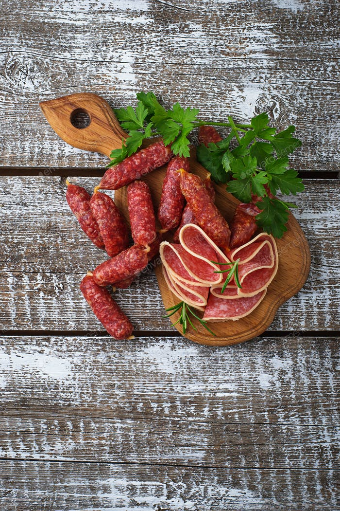 Various type of Italian salami