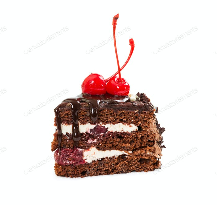 Piece of chocolate cherry cake