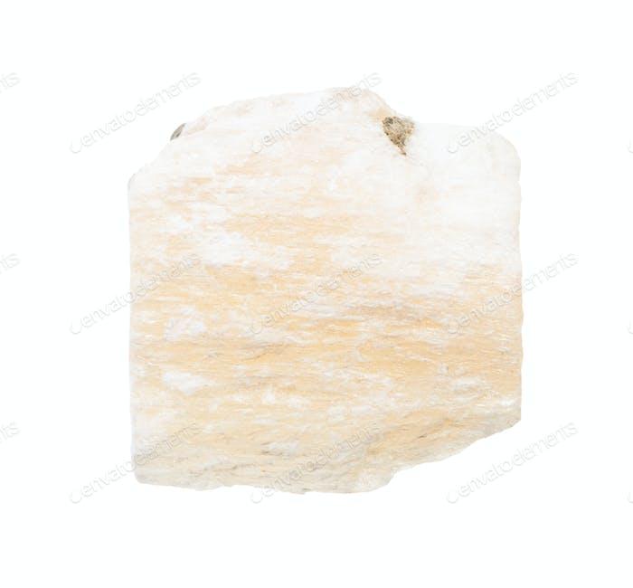 ungeschliffenes Gipsgestein isoliert auf weiß