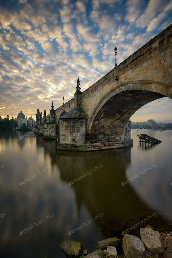 Charles bridge reflection, Prague, Czech republic