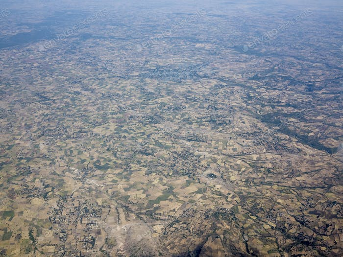 Aerial view of endless patchwork of farms in Ethiopia.