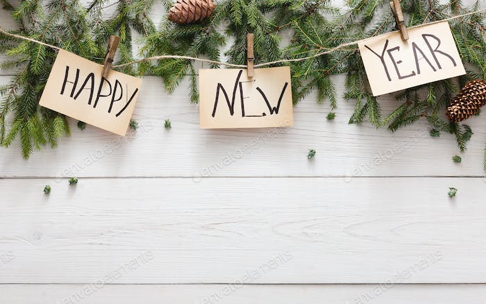 Happy new year decoration, ornament and garland frame background