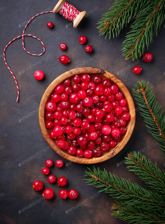 Fresh ripe cranberry in wooden bowl