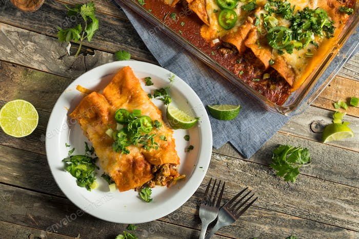 Homemade Beef Enchiladas with Red Sauce