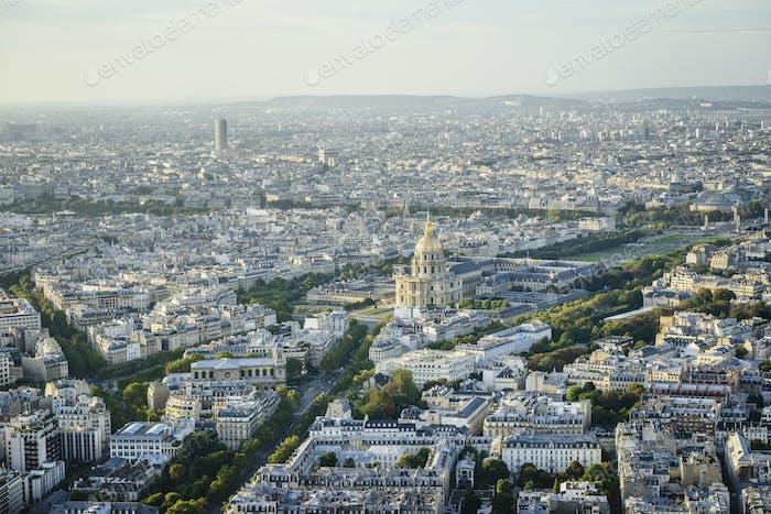 54952,Aerial view of Paris cityscape, Paris, Ile de France, France