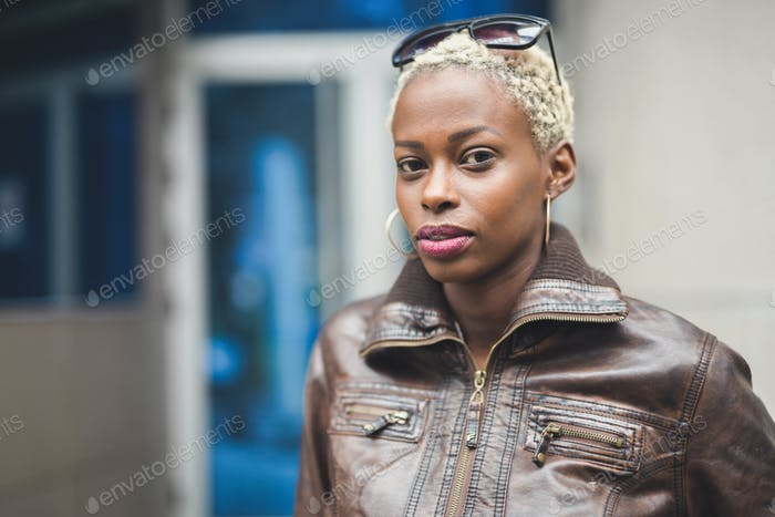 Black woman with short afro hair