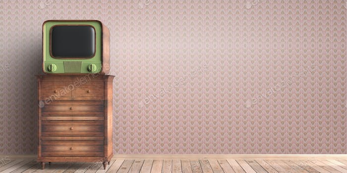 Vintage TV on a chest of drawers, house room interior background. 3d illustration