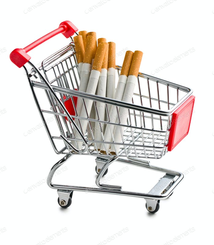 cigarettes in shopping cart