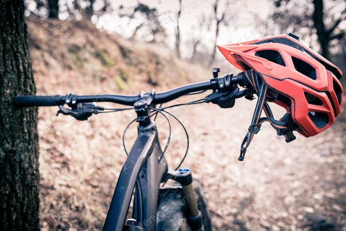 Mountain bike and helmet in autumn woods
