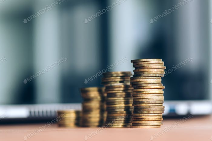 Coin stack on office desk