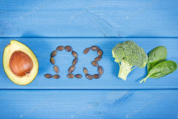 Natural sources of omega 3 acids, unsaturated fats and fiber, healthy nutrition concept