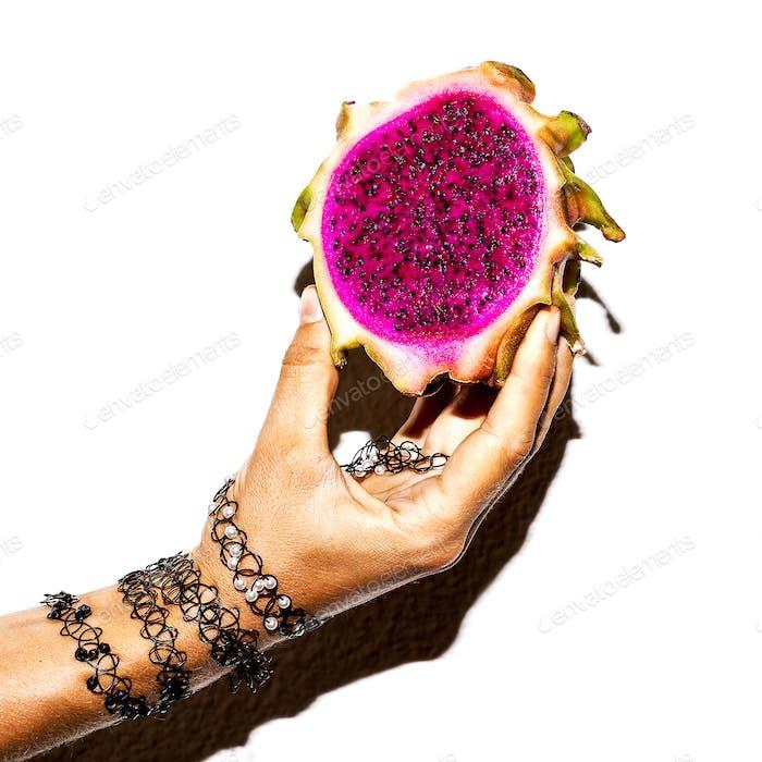 Dragon fruit and bracelets accessories. Minimal art design