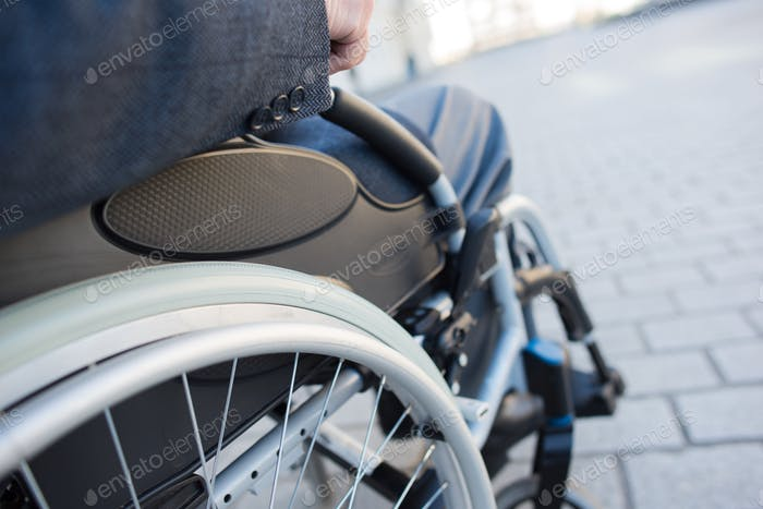 Closeup of wheelchair wheel