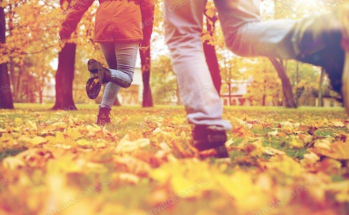 junges Paar läuft im Herbst Park
