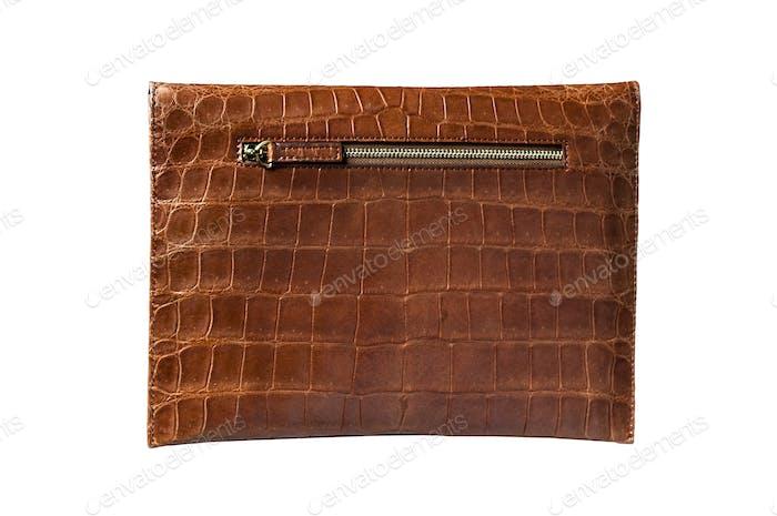 Exotic Alligator Skin Pad Bag for Pad, hide, skin in brown color