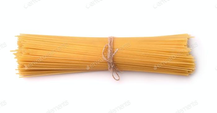 Top view of uncooked italian pasta