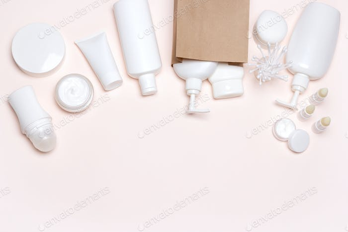 Cosmetic products with paper bag, free space for text