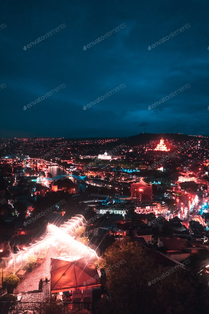 Big old city at night, Tbilisi