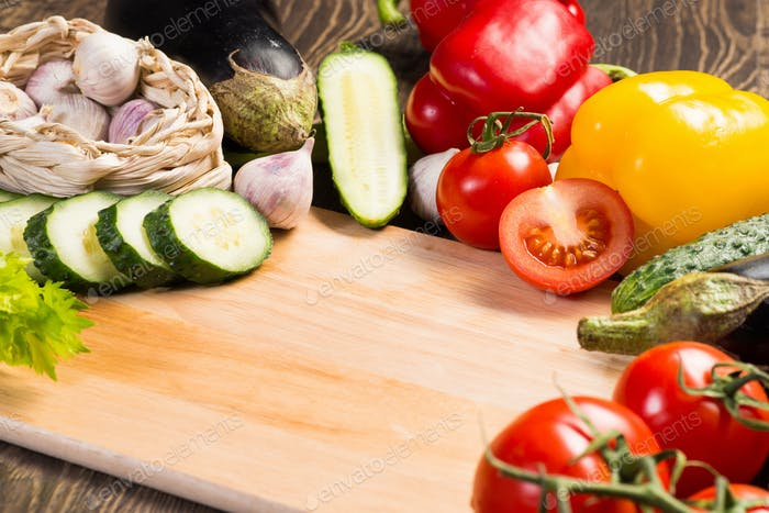 vegetables on the kitchen board