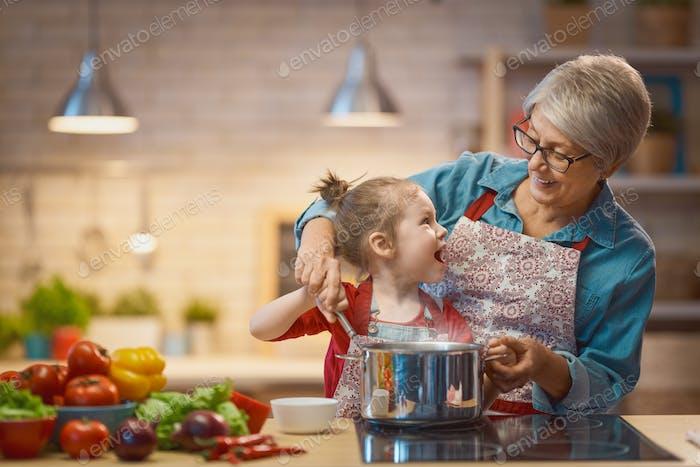 Homemade food and little helper