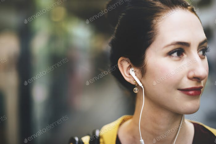 Woman Listening Music MediaTraveling Concept