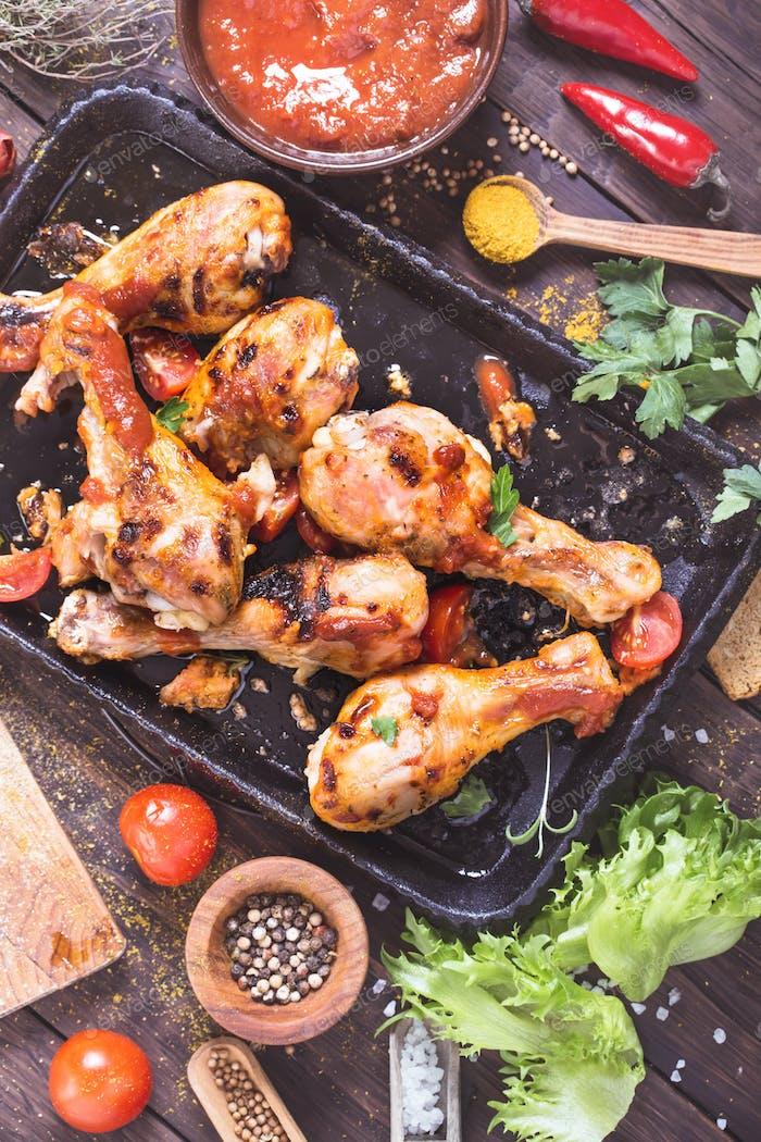 Spicy chicken drumsticks top view