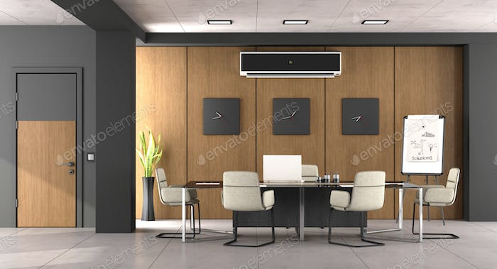 Black and wooden modern boardroom