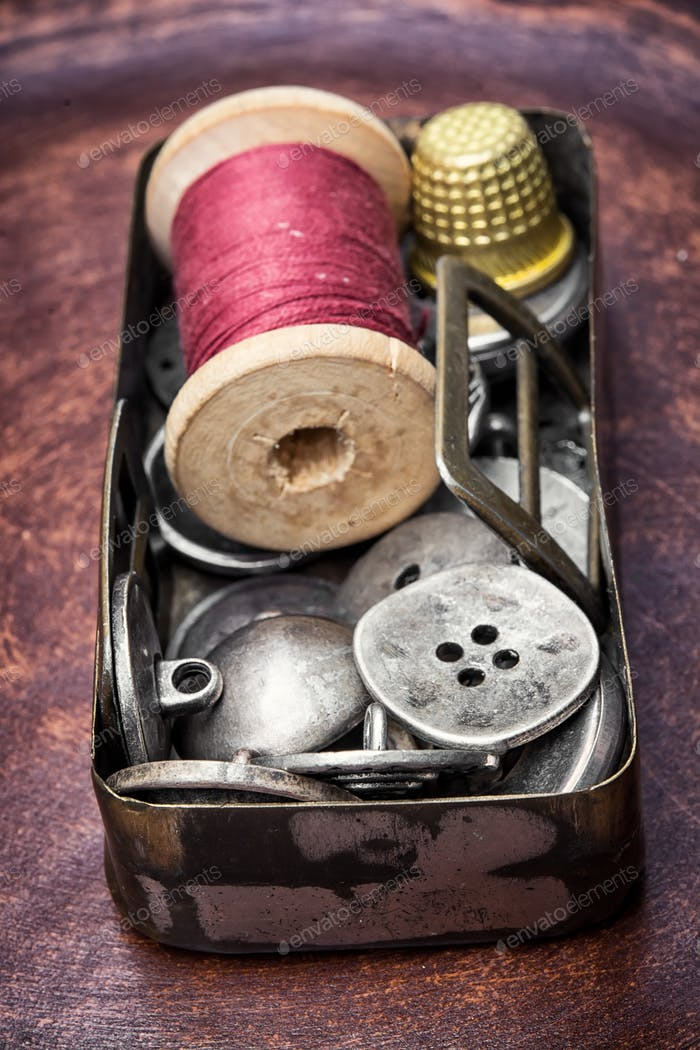 Old-fashioned button and thread