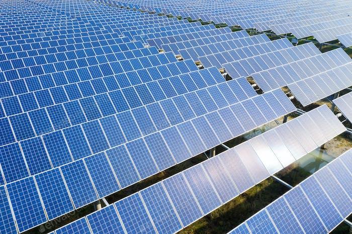 arrays of blue solar panels