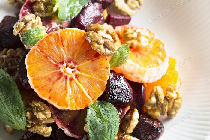 Orange Beetroot and Walnut Salad