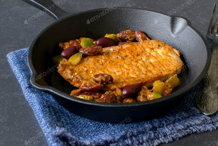 Fried Steak and Vegetables in a Frying Pan