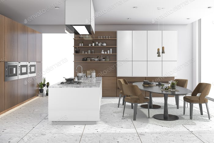 3d rendering dining set in wood kitchen and living design