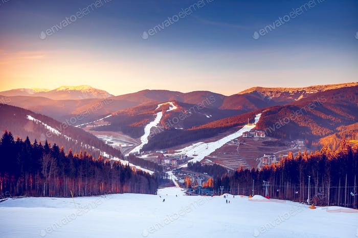 Ski resort in mountains